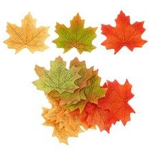 En satış turuncu/yeşil/sarı 100 adet/takım suni akçaağaç yaprağı çelenk ipek sonbahar güz yaprakları düğün bahçe dekoru