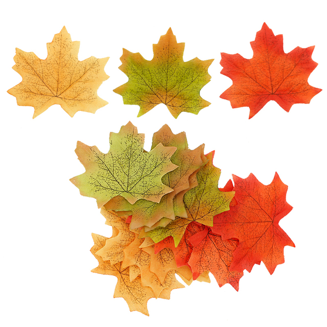 Guirnalda de Hojas de arce artificiales, color naranja, verde y amarillo, hojas de otoño y otoño, y boda decoración de jardín, 100 unidades