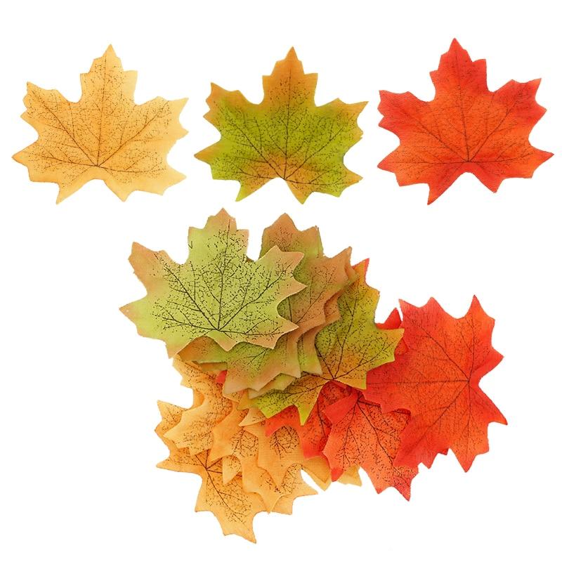 Top Sale Orange/Green/Yellow 100pcs/set Artificial Maple Leaf Garland Silk Autumn Fall Leaves For Wedding Garden Decor