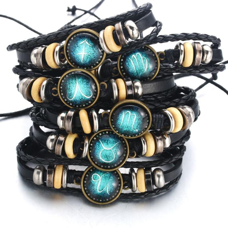 Handmade 12 Zodiac Signs Glass Cabochon Braided Leather Bracelets 12 Constellation Men Beaded Charm Punk Style Jewelry
