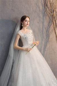 Image 5 - Ezkuntza 2019 ダイヤモンドのレースのウェディングドレス o ネックビーズボールガウンシンプルな格安のウェディングドレス王女のウェディングドレス