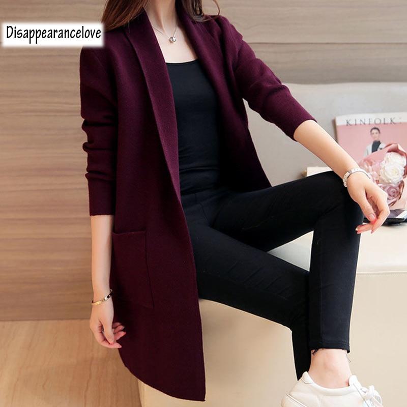 Women's Autumn Winter Long Cardigan Sweater 2019 New Long Sleeve Knitted Cardigan Female Outerwear Coat Pocket Sweaters