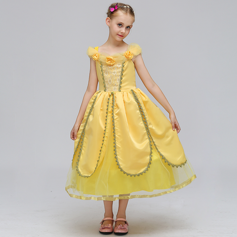 2018 New Yellow  Flower Princess Dress Girl Cosplay Dress Kids Round Collar Petal Performance Dresses Children Clothes Hot Sales2018 New Yellow  Flower Princess Dress Girl Cosplay Dress Kids Round Collar Petal Performance Dresses Children Clothes Hot Sales