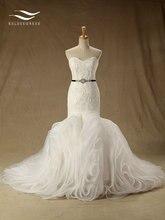 Dantel Kat Uzunlukta Mermaid Sevgiliye düğün elbisesi Şapel Tren ile İnciler Boncuk gelin kıyafeti Custom made Gerçek Fotoğraf (SL W55)