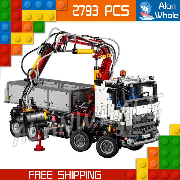 2793pcs Technic Electric Motors Motorized Arocs Truck 20005 Model Building Kit Blocks Toys Bricks Transport Compatible With lego 2793pcs technic remote controlled arocs truck 20005 building kit 3d model blocks minifigures toys bricks compatible with lego