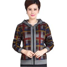 middle-aged elderly women jacket coat spring autumn simple short plaid coat casual thin plus size xl-5xl loose outerwear kl0448