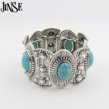 купить Classical Women's Retro Vintage Natural Turquoise Cute Tibet Silver Bracelet Bangle по цене 233.82 рублей