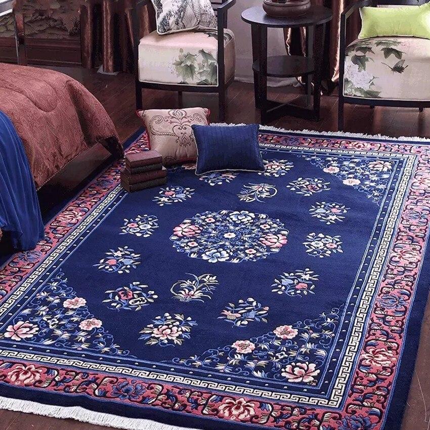 Tapis en laine bleu et rouge de style chinois traditionnel sculpté à la main 3D, tapis de salon de grande taille, tapis de décoration de maison