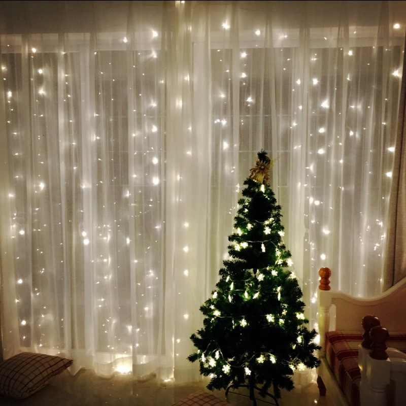 con luces de hadas con control remoto 8 modos de iluminaci/ón cortinas luces navidad Luces de cortina LED de Navidad de 3 mx 3 m 4 modos de brillo luces navidad cortina Sendowtek
