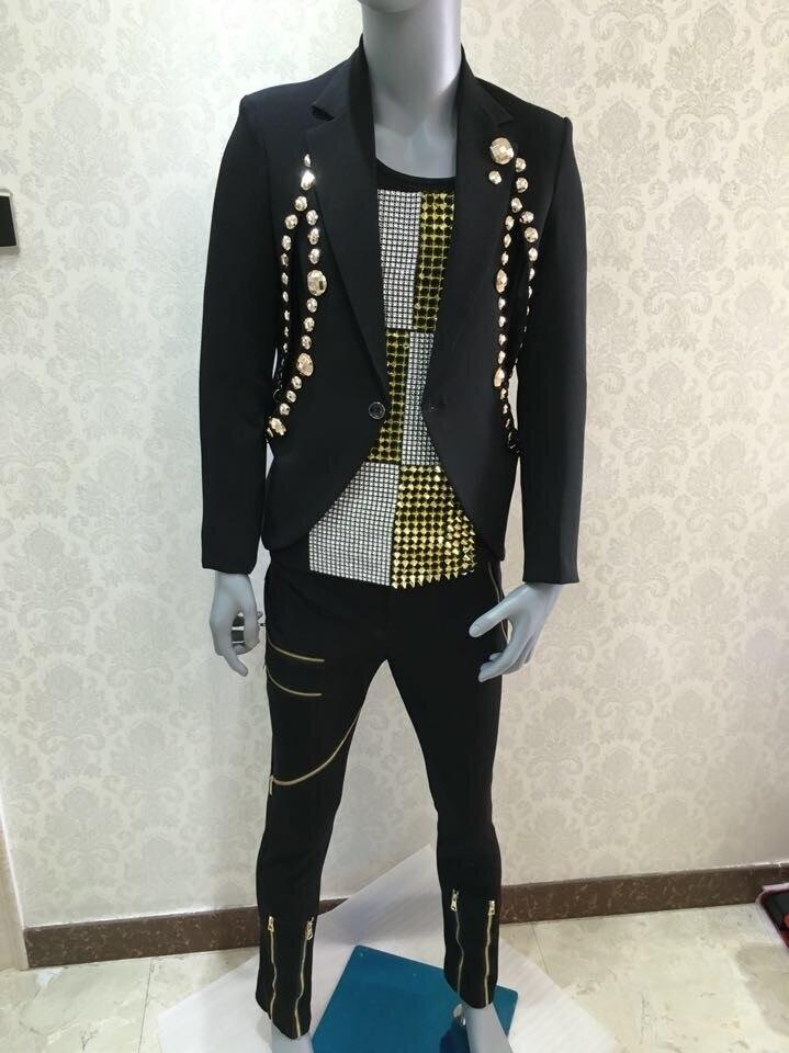 Conjunto de trajes casuales delgados negros de moda para hombre - Ropa de hombre