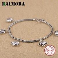 BALMORA Genuine 925 Sterling Silver Elephant Pulseiras para Mulheres Meninas Presente Cerca de 19 cm de Comprimento Pulseira Animal Jóias SZ0441