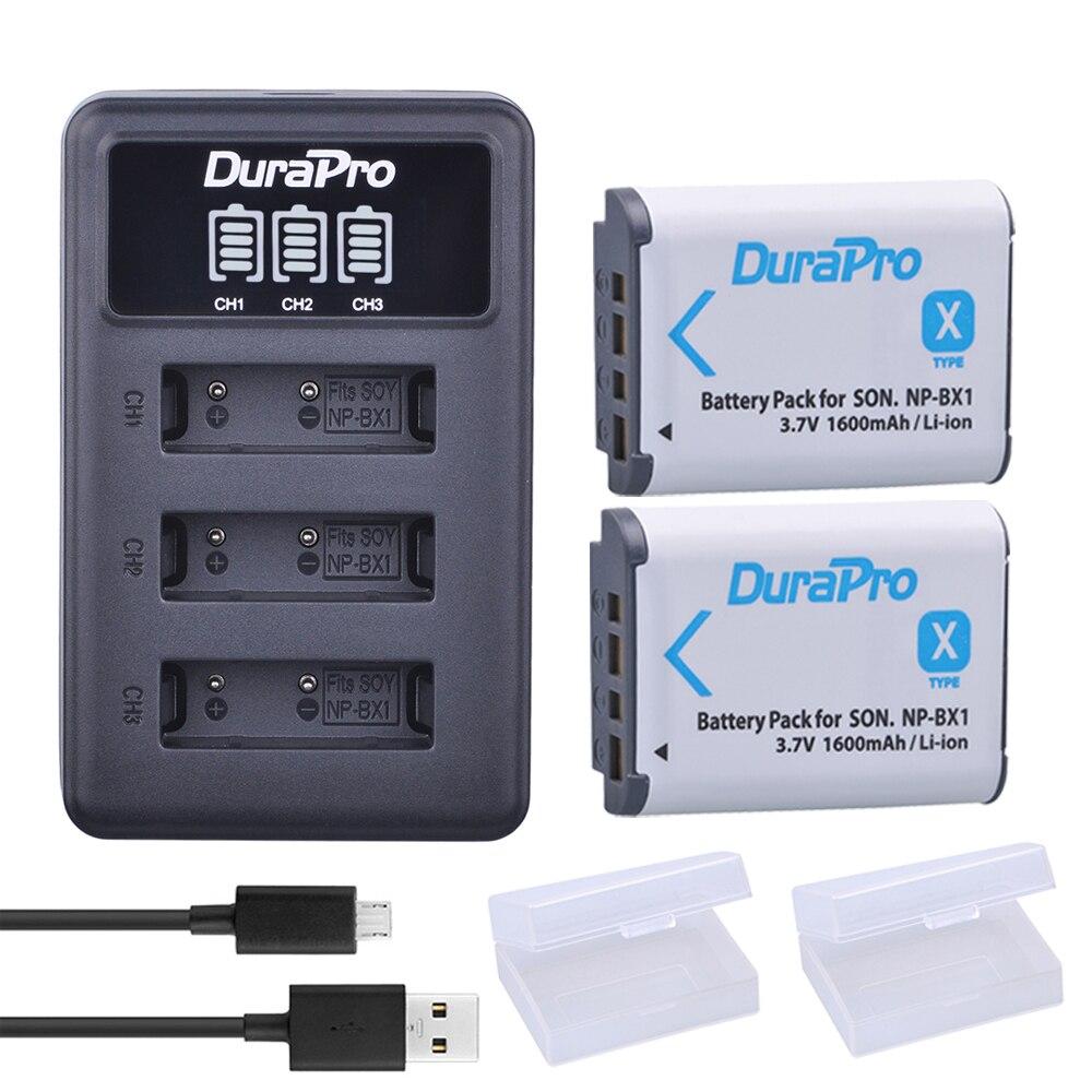 2 pc NP-BX1 NP BX1 NPBX1 Batterie + LED 3 Port USB Chargeur Pour SONY DSC RX1 RX100 RX100iii M3 m2 WX300 HX300 HX400 HX50 HX60 GWP88