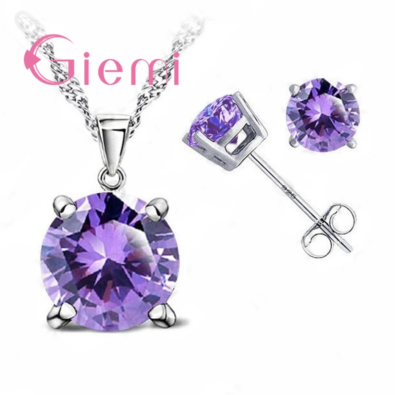 Pure 925 Sterling Silver Women Accessories Wholesale High Quality Jewelry Cubic Zirconia CZ 4 Claws Stud Earrings 8 Colors 3