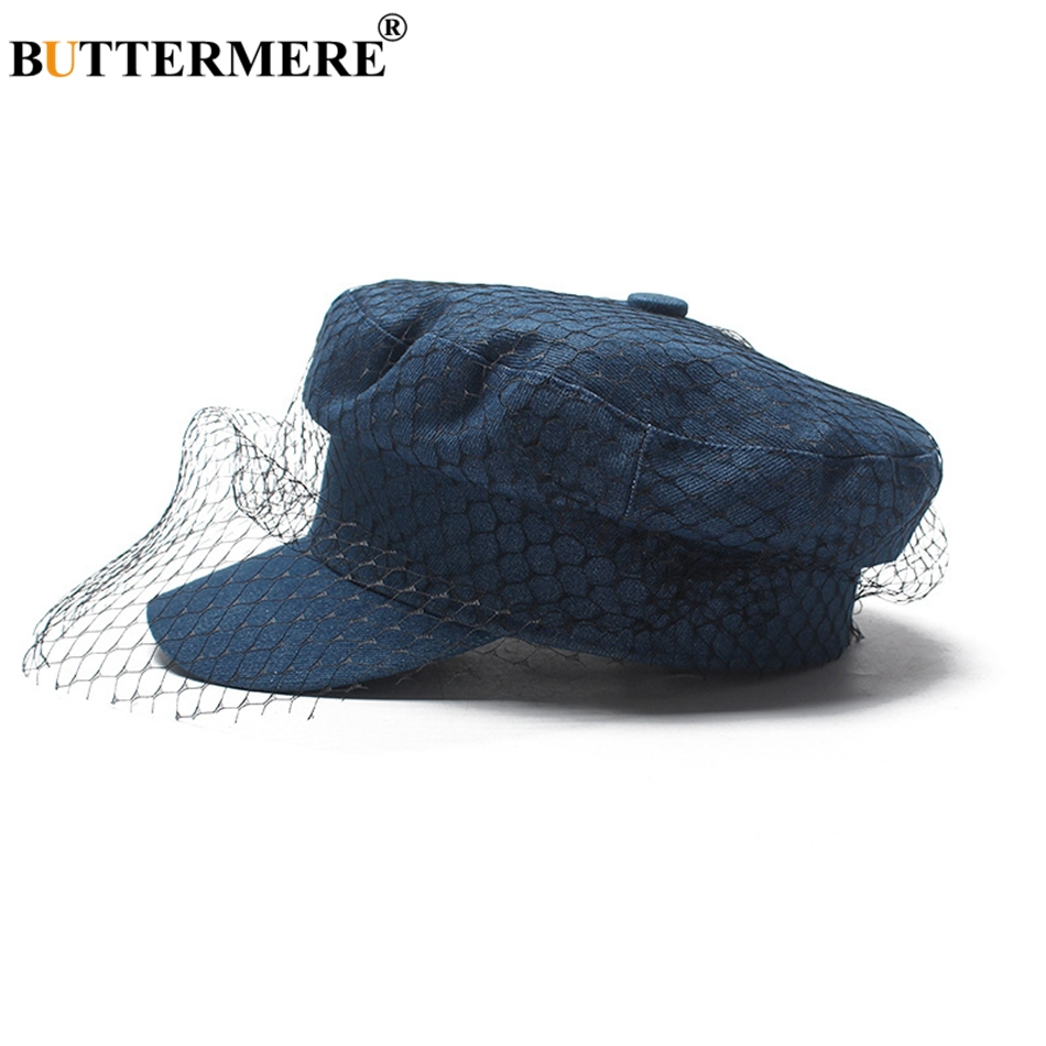 7a3859d9 BUTTERMERE Women Newsboy Cap Denim Blue Flat Caps With Veil Ladies Elegant  Gatsby Hats Ivy Vintage Autumn Casual Baker Boy Caps-in Newsboy Caps from  Apparel ...