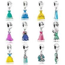 Breloque pour robe de princesse, en argent Sterling 925, perles, à la mode, Bracelets pour femmes, DIY bricolage