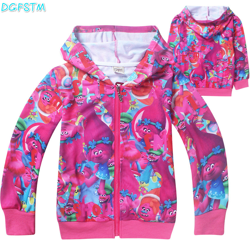2017 New Chidren girl T shirt clothing Spring Autumn zipped Hoodies Sweatshirts Trolls coat Long-sleeved t-shirt girls clothes