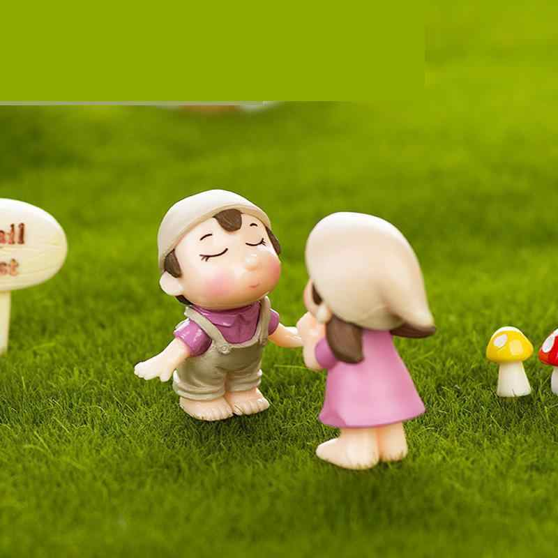 2pcs Micro Landscape Decoration Diy Landscaping Accessories Potted Plants Decorative Couples Smiling Couples Miniature Garden