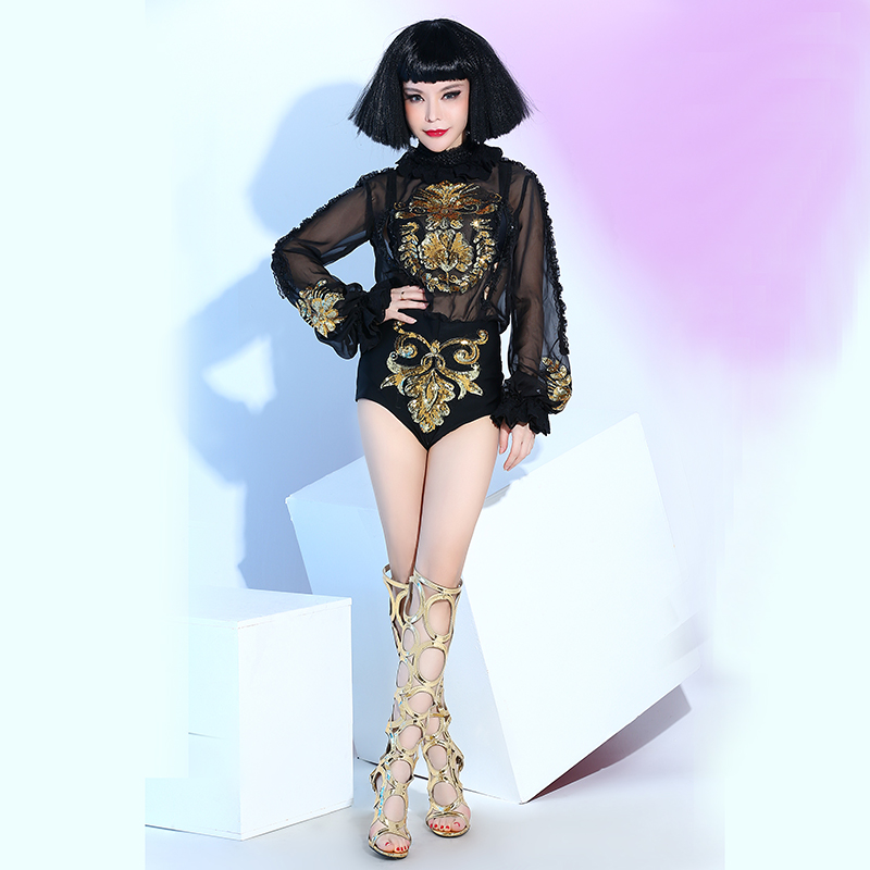 Female singer modern dance <font><b>dj</b></font> costume Dance costumes Concert <font><b>dress</b></font> Singer clothing Singer stage Bars nightclubs clothing image