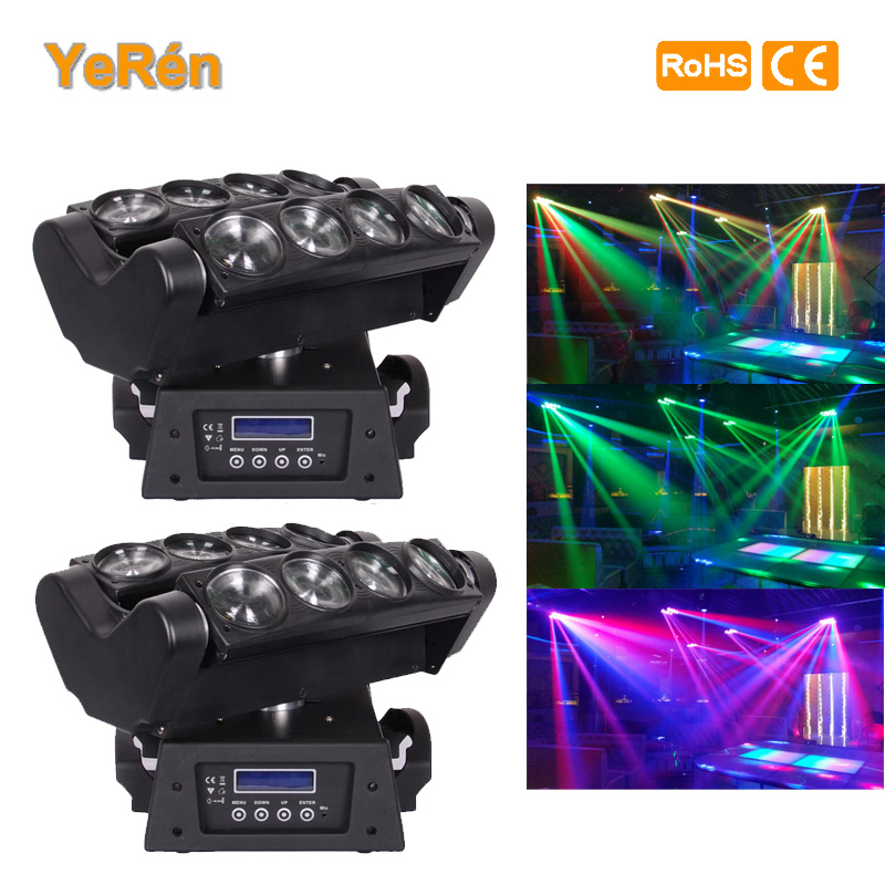 (2PCS) 8*10W Led Spider Beam Moving Head Light White LED DMX Stage Lighting Effect Disco Party DJ Show plc programmable logic controller module and 3 5 inch hmi learning plan hmi plc