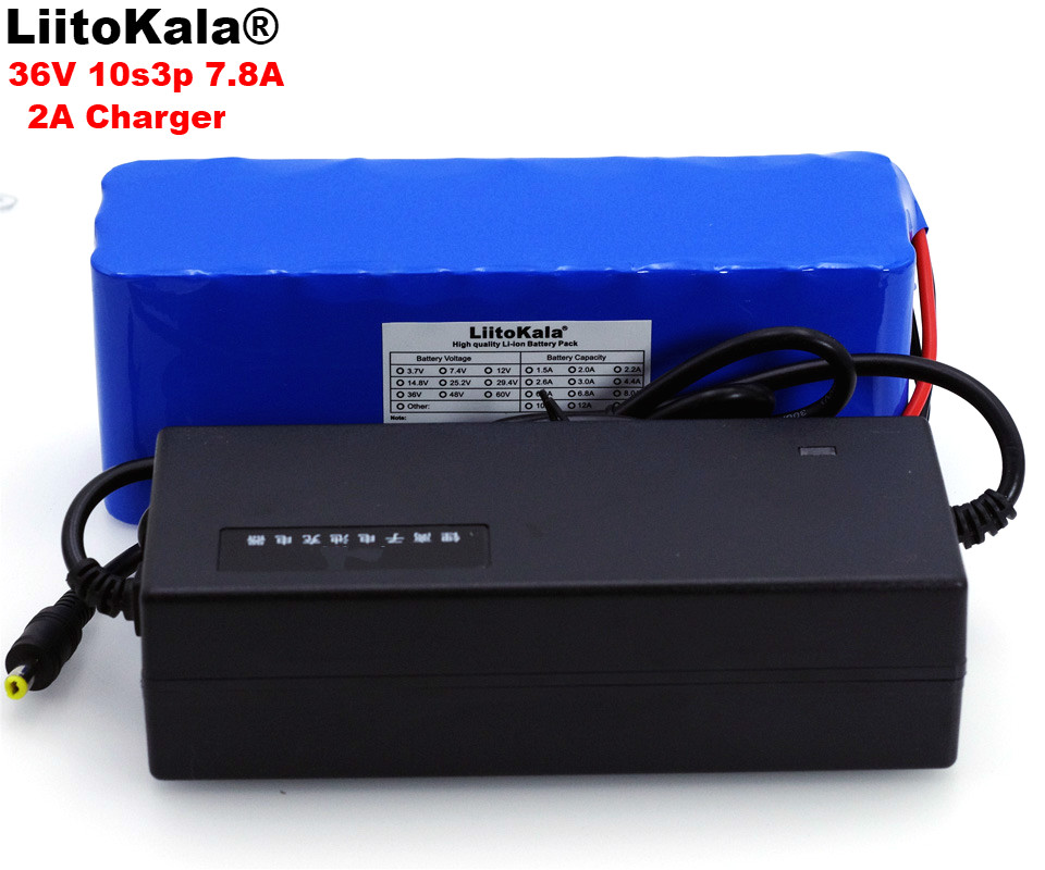 LiitoKala 36V 7.8Ah 10S3P 18650 Rechargeable battery pack ,modified Bicycles,electric vehicle 36V Protection PCB+2A ChargerLiitoKala 36V 7.8Ah 10S3P 18650 Rechargeable battery pack ,modified Bicycles,electric vehicle 36V Protection PCB+2A Charger