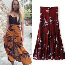 summer skirt 2017 women sexy split floral print beach skirt high waist boho print long skirt