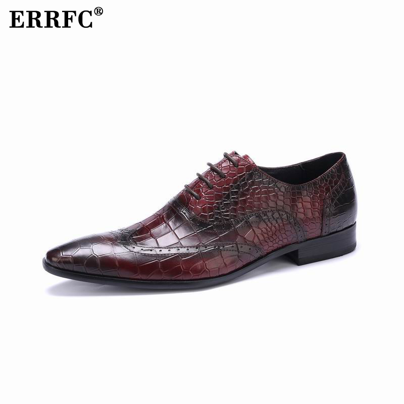 Shoes Obedient Errfc Men Formal Shoes England Fashion Python Snake Pattern Genuine Leather Dress Shoes For Wedding Groom Red Pointed Toe Shoes