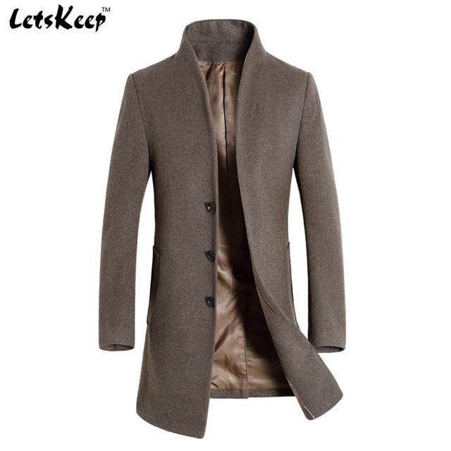 Letskeep 2016 Новый Зимой шерстяные длинные peacoat мужчины slim fit случайные толщиной пальто мужские теплые Ветровка, пальто, Куртки, MA209