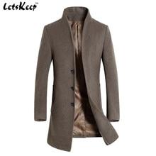 Letskeep 2016 New Winter woolen long peacoat men slim fit casual thick overcoat mens warm Windbreaker trench coat Jackets, MA209