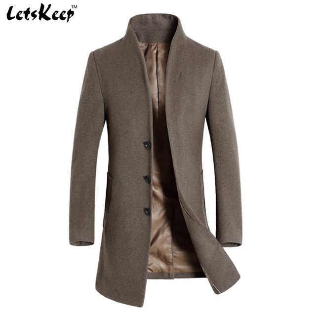 Letskeep 2016 novo inverno de lã peacoat longo casaco grosso dos homens slim fit casuais mens quente casaco corta-vento trench casacos, MA209