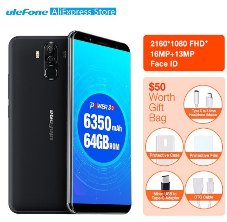 Ulefone мощность 3 s 3 s 4 ГБ 64 ГБ Face ID мобильный телефон 6,0 18:9 FHD + P23 MT6763 Восьмиядерный 16MP + 8MP 4 Камера 6350 мАч OTG отпечатков пальцев