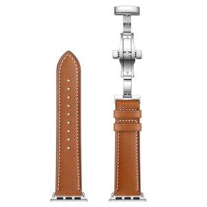 Image 3 - Echte Koe Lederen Horlogeband Voor Iwatch Apple Horloge Serie 5 4 3 2 1 38Mm 40Mm 42Mm 44Mm Vervanging Band Strap Wrist Armband