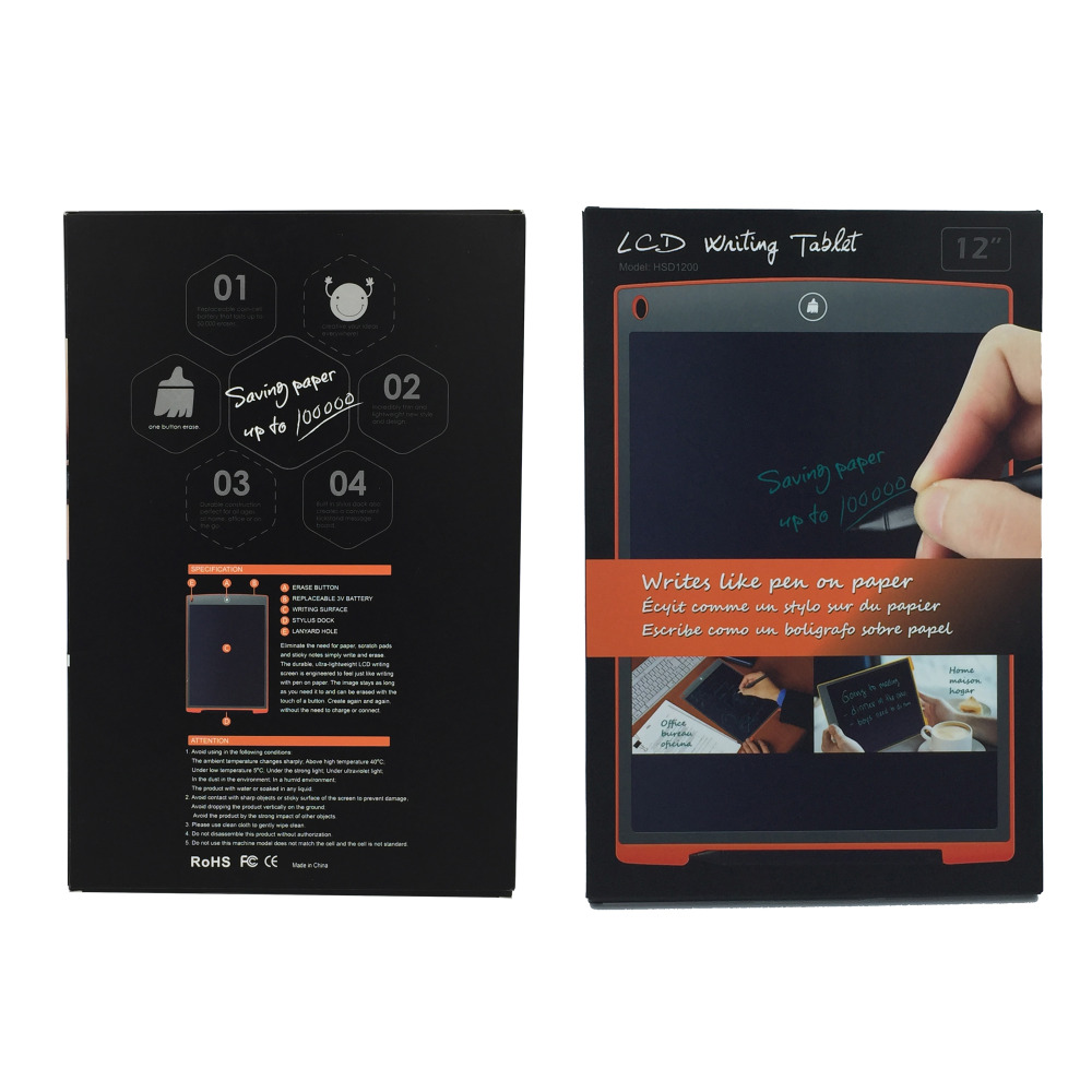 12in writing tablet packing box