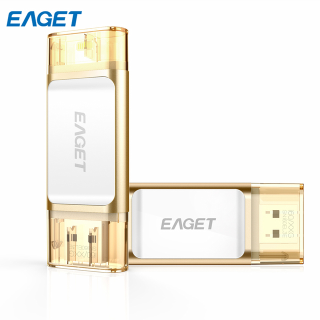 Promoção! eaget i60 para iphone 6 6 s plus 5 5S usb 3.0 Flash Drive Pen Drive OTG para MacBook Computador USB Stick Champanhe subiu