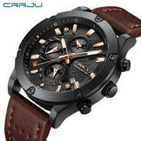 relogio masculino CRRJU Watch Men Military Quartz Watch Mens Watches Top Brand Luxury Leather Sports Wristwatch Date Clock 2018