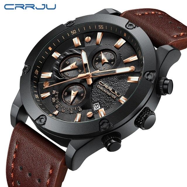 f478b578b55 relogio masculino CRRJU Watch Men Military Quartz Watch Mens Watches Top Brand  Luxury Leather Sports Wristwatch Date Clock 2018