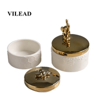 VILEAD 8cm 15cm Ceramic Animal Jewelry Storage Box Creative Elephant Bee Ornaments Nordic Modern Minimalist Ornaments For Home