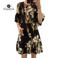 Новое весеннее женское платье, Повседневное платье с коротким рукавом и цветочным принтом, Летнее шелковое платье для женщин