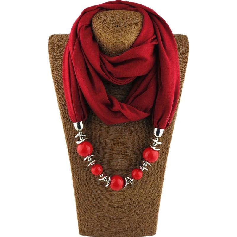 Necklaces Pendants Long Necklace Beads Pendant Scarf Neckerchief Pendant Necklace For Women Bijoux Ethnique Femme Dropshipping characteristic rhinestoned geometric beads pendant necklace for women