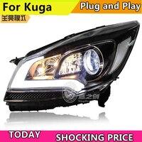 Автомобильные стайлинг фары для Ford Kuga Escape светодио дный фары для Kuga 2014 2016 DRL дневные ходовые огни Bi Xenon HID аксессуары