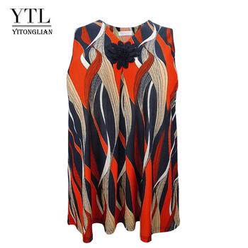 Plus Size Female T-shirt Summer Women Oversized Loose Tunic Sleeveless Print Casual Vest 6XL 7XL