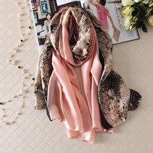 Fashion Scarves women Silk Scarf leopard print 180*90cm lady pashmina scarfs long shawls echarpe femme