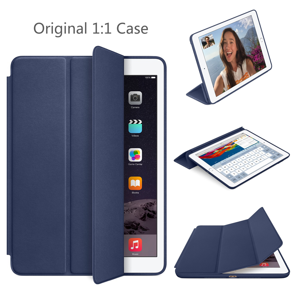 SZEGYCHX 9,7 pulgadas caso iPad aire caso de iPad 2 imán inteligente Auto dormido soporte Funda de cuero Flip A1566 A1567 Shell con logotipo de