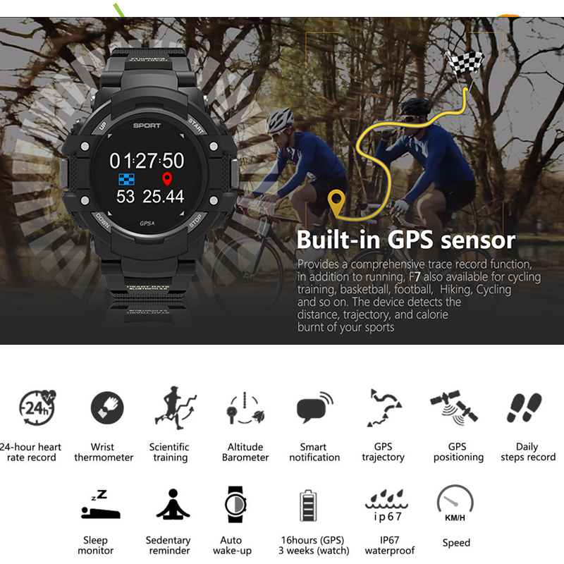 GPS Smart Watch Waterproof IP67 Heart Rate Temperature Monitor Multisport Outdoor Bluetooth 4.2 Smartwatch for Android IOS