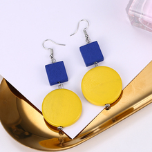 HOCOLE Handmade wood earrings Fashion Yellow Round Wooden Pendientes For Women 2019 Trendy Drop Earrings Female Jewelry Gift