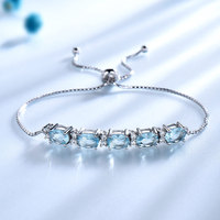 UMCHO 5ct Natural Sky Blue Topaz Real 925 Sterling Silver Jewelry Aquamarine Charm Bracelets & Bangles For Women Fine Jewelry