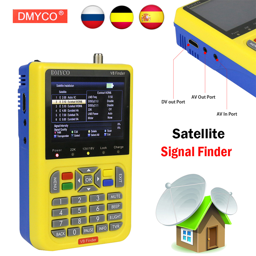 DMYCO V8 Finder DVB-S2 DVB-S FTA Numérique Satellite SatFinder Mètre HD Satellite Finder Outil TFT LCD Sat Finder lnb Signal mètre