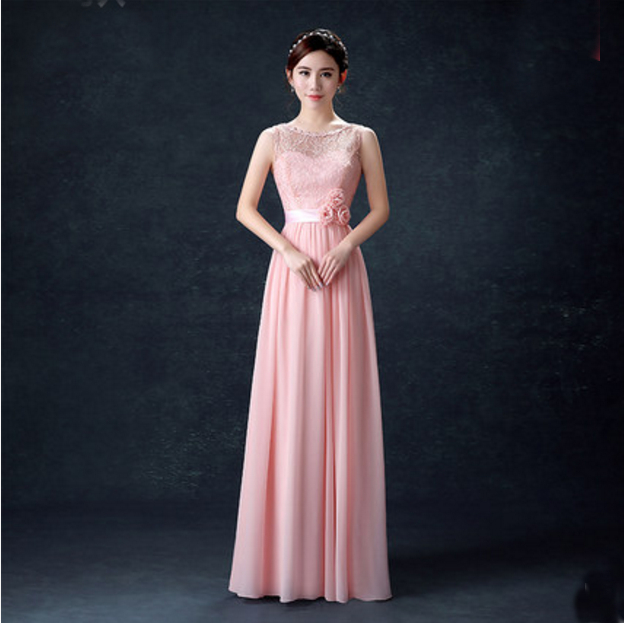 Pastel Colored Wedding Gowns: Light Pink Bridesmaid Dress Pastel Color Chiffon Long