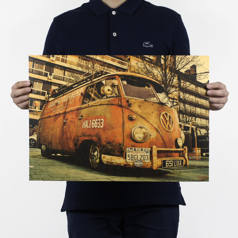 Vintage Signs Bus Retro Painting Car Bar Antique Wall Decoration Poster Wall Sticker 51X35.5cm