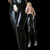 Black Nature Latex Rubber Long Pants Rubber Latex Tights Leggings Sexy Pants