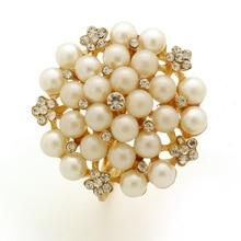 6PCS metal napkin ring cloth alloy pearl buckle
